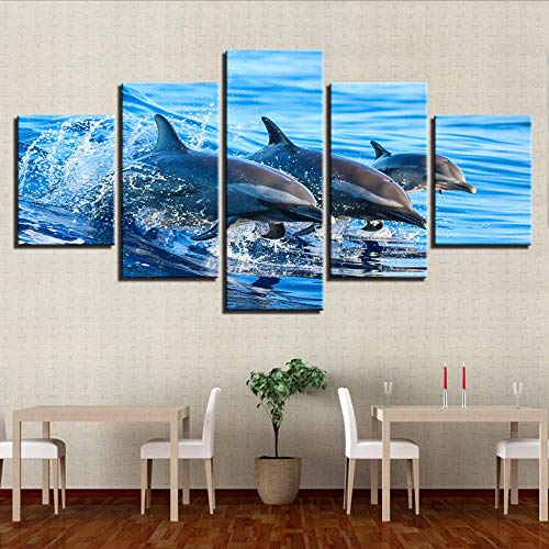 Fbhfbh Wall Art Canvas Painting Hd Prints Home Decor Ocean Animal 5 Pieces Dolphin Modular Kids Room Pictures Scenery Artwork Poster,8 X 14/18/22Inch,with Frame