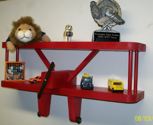 RED Airplane Shelf - 18 Inches Wide X 3 1/2 Inches Deep // Aviation Wall Decorative Display Shelves ()