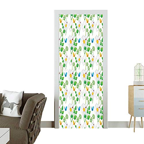 Homesonne 3D Door Decals Chamomil and Ladybugs Playful Spirits The Nature White Green Self Adhesive Door DecalW17.1 x H78.7 INCH ()