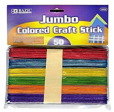 6 Pk, Bazic Jumbo Colored Craft Stick 50 Per Pack