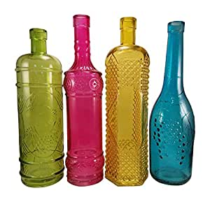 Colored glass bottles large wine bottle size for Where to buy colored wine bottles