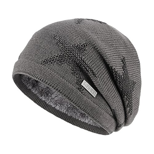 OMECHY Winter Knit Slouchy Beanie Hat Unisex Daily Warm Ski Skull Cap,Grey -