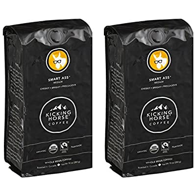 Kicking Horse Coffee, Smart Ass, Medium Roast, Whole Bean, 10 Ounce (Pack of 2)