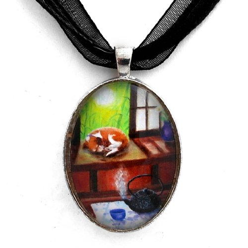 (Laura Milnor Iverson Zen Beagle Dog Necklace Japanese Tea House Teapot Art Pendant Boho Handmade Jewelry)
