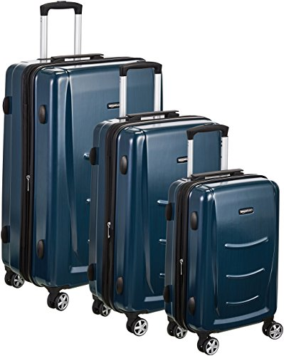 AmazonBasics 3 Piece Hard Shell Luggage Spinner Suitcase Set - Navy Blue