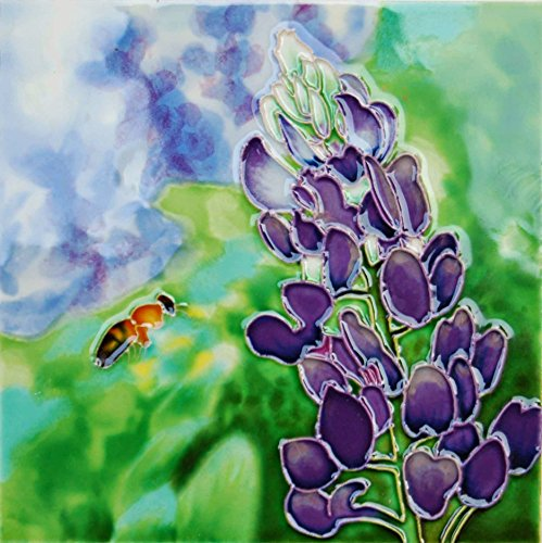 6 x 6 inch bluebonnet and bee ceramic art tile trivet