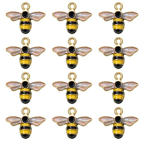 Monrocco 20Pcs Enamel Bee Charm Pendants Jewelry Findings for Jewelry Making Necklace Bracelet DIY]()