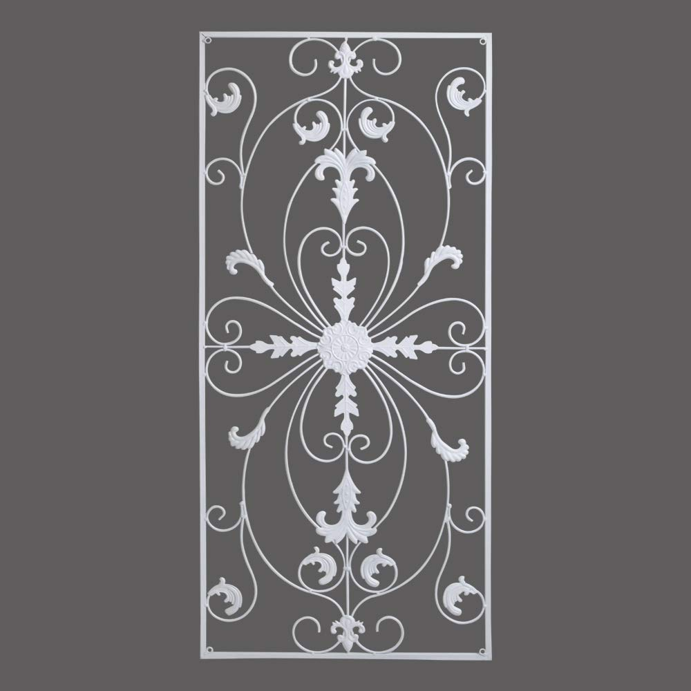 gbHome GH-6778W Metal Wall Decor, Decorative Victorian Style Hanging Art, Steel Décor, Rectangular Design, 19.7 x 44 Inches, White