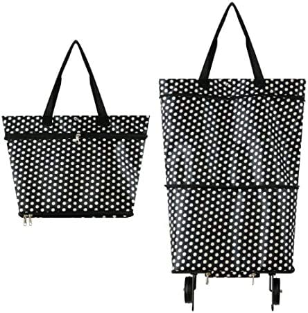 White Circle Collapsible Trolley Bags Folding Shopping Bag with Wheels Foldable Shopping Cart Reusable Shopping Bags 2-1 Shopping Cart for Home Supermarket,Heavy-Duty Capacity Bag