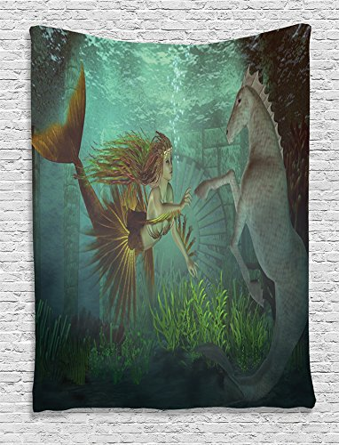 Ambesonne Underwater Tapestry Mermaid Decorations, Mermaid with Seahorse Fantasy World Design, Bedroom Living Kids Room Dorm Accessories Art Wall Hanging, 40 W x 60 L Inches, Beige Darksea Green