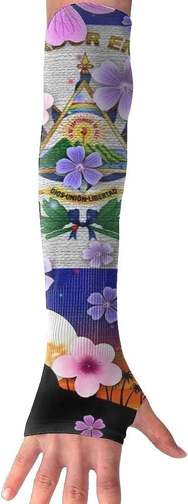 NUNOFOG El Salvador Flag Unisex Summer Arm Cover Sleeves Long Fingerless Sun-proof Anti-UV Long Gloves For Outdoor