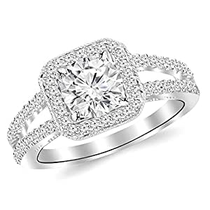 1.97 Cttw 14K White Gold Round Cut Designer Split Shank Halo Style With Milgrain Diamond Engagement Ring with a 1.5 Carat J-K Color I2 Clarity Center