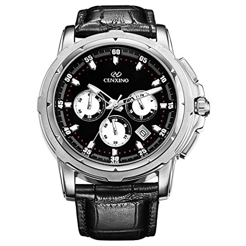 CENXINO Mens Multifunction Chronograph Wrist Watches with Black Dial and Genuine Leather Strap (black) (Classic Field Black Dial)