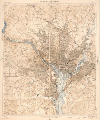 1947 Map Washington and vicinity, Maryland, Virginia, District of Columbia. - Size: 20x24 - Ready - In Stores Outlet Maryland