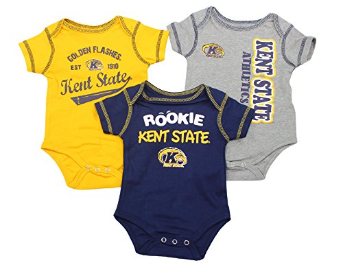 OuterStuff Kent State Golden Flashes Baby Clothing, University 3 Piece Creeper Apparel Set (Light Golden Kent)