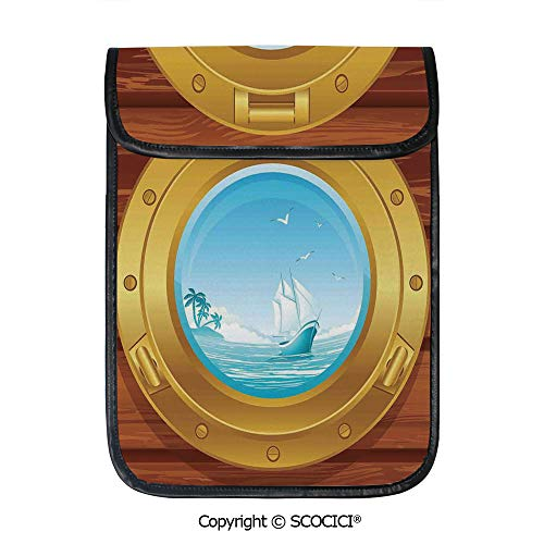 SCOCICI Protective Storage Carrying Sleeve Case - Brass Porthole On A Wooden Penal Golden Metallic Palm Trees Island Birds Compatible with 12.9 Inch iPad Pro Tablet