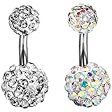 Kuyou 2 Pcs Super Short needle 6 mm Navel Rings Belly Button Crystal Ball Body Piercing (white+multicolor)