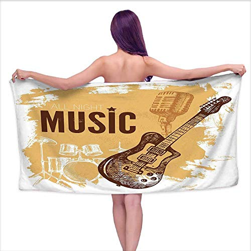 Bensonsve Bath Towels Large Rock Music,Vintage Sketch Hand Drawn Drums and Microphone Pattern Abstract Backdrop,Pale Coffee Brown,W20 xL39 for Youth Girls Cotton