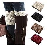 Xugq66 4 Pairs Women Winter Leg Warmer Crochet Knit Boot Cuffs Socks (4 Pair-a3)