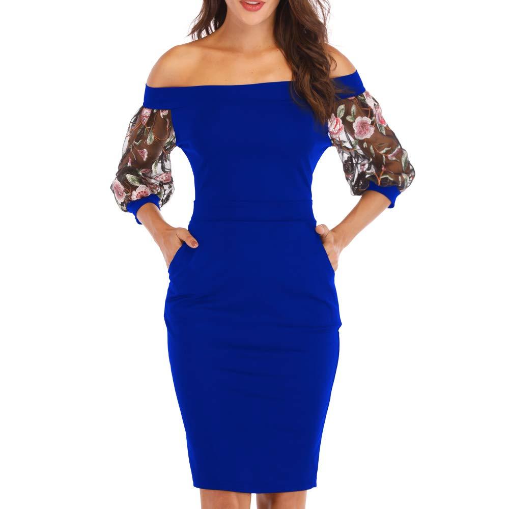 bluee Zshujun Women's Retro Bodycon Slash Neck KneeLength Formal Office Work Casual Party Pencil Dress 2397