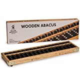 Vintage Style Wooden Abacus - Soroban Calculator with Reset Button - 13.75 Inches - 17 Column