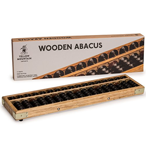 Yellow Mountain Imports Vintage Style Wooden Abacus, Soroban Calculator with Reset Button, 13.75 Inches, 17 Column