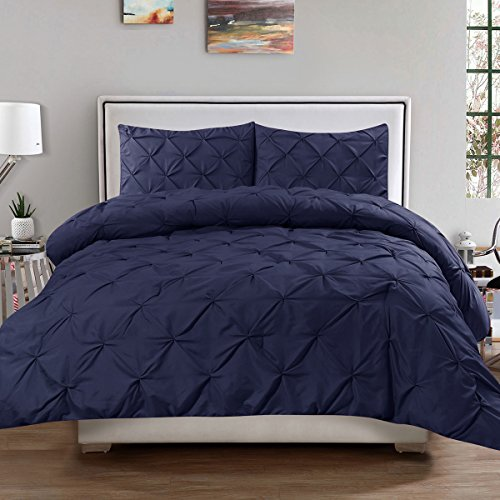 Sweet Home Collection 3 Piece Luxury Pinch Pleat Pintuck Fashion Duvet Set, King, Navy
