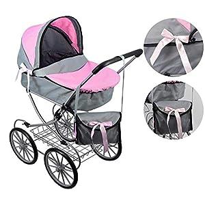 The Magic Toy Shop Dolls Pushchair Stroller Cambridge Pram Vintage Doll Buggy with Storage Basket & Carry Bag (Pink)