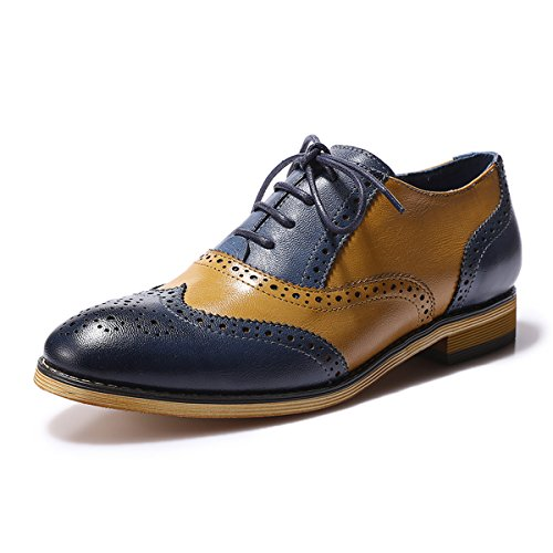 (Mona flying Womens Leather Perforated Lace-up Brogue Wingtip Derby Saddle Oxfords Shoes for Womens ladis Girls Blue-Brown)
