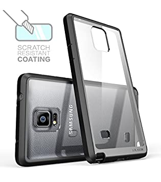 i-Blason Carcasa Galaxy Note 4 Halo Series Samsung Galaxy Note 4 Funda hibrida transparente anti arañazos/cubierta antigolpes en TPU (Claro/Negro)