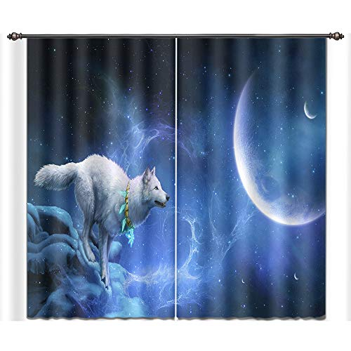 LB Wolf Decor Curtains for Bedroom Living Room,White Wolf and Blue Space Room Darkening Thermal Insulated 3D Blackout Window Curtains Drapes 2 Panels Set,28 x 65 inch Length