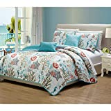 5 Pc Tropical Calming Ocean Style Blue Quilts Queen Size, Beautiful Elegant Design Starfish Sea Shells Sea Weed Coastal Nautical Bedding Set, Printed Pattern Feel Like Beach Reversible Solid Bed Decor