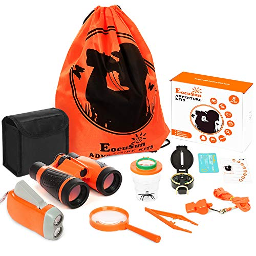 EocuSun Adventure Kids - Outdoor Exploration Kit, Educational Outdoor Explorer Toys for Children, Binoculars, Flashlight, Compass, Magnifying Glass, Great Gift Set for Camping, Hiking (Boys & Girls) (Kids Belt Explorer)