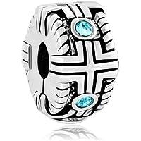 Clip Lock Stopper Spacer Charms Blue Crystal Bead Fit Pandora Bracelets
