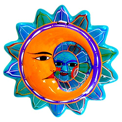 Talavera Sun and Moon Face Decor - Ceramic Eclipse Mexican Home Decor - Hand Painted in Mexico - Wall Decoration - Eclipse ()