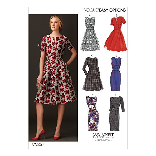 """Vogue Patterns V9267E50 Misses' Fit-and-Flare Dresses, 14-16-18-20-22"""", Green from Vogue Patterns"""