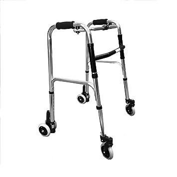 Andador de aluminio con ruedas y freno por presión: Amazon ...