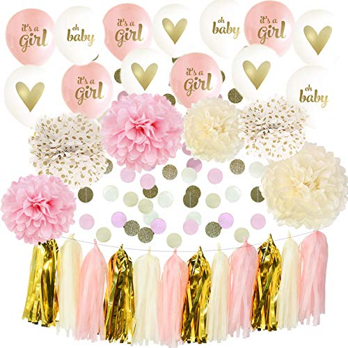 (It's A Girl Ballon Baby Shower Decorations Pink Cream Glitter Gold Tissue Paper Pom Pom Polka Dot for Girl Baby Shower Decorations Pink Gold Party Decor)