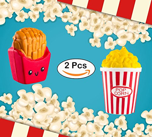 SQUISHIES, Squishy Toys Slow Rising - 2 Pack Kawaii Popcorn and Fries Jumbo Squishies Food for Kids and Adults, Stress Relief and Fun!