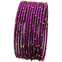 Touchstone Silk Thread Bangle Collection Indian Bollywood Handcrafted Faux Silk Thread with Golden Beads Exotic Look Passionate Purple Designer Bangle Bracelets Set of 12 For Women.