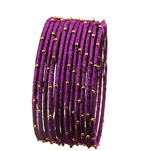Purple Silk Thread Bracelet (NEW! Touchstone Indian Bollywood Handcrafted Silk Thread with Golden Beads Exotic Look Passionate Purple Designer Bangle Bracelets Set of 12 For Women.)