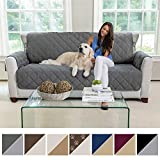 MIGHTY MONKEY Premium Reversible Sofa Slipcover, Seat Width to 70' Furniture Protector, 2' Elastic Strap, Washable Couch Slip Cover, Covers Protect from Kids, Dogs, Cats (Sofa: Charcoal/Light Gray)