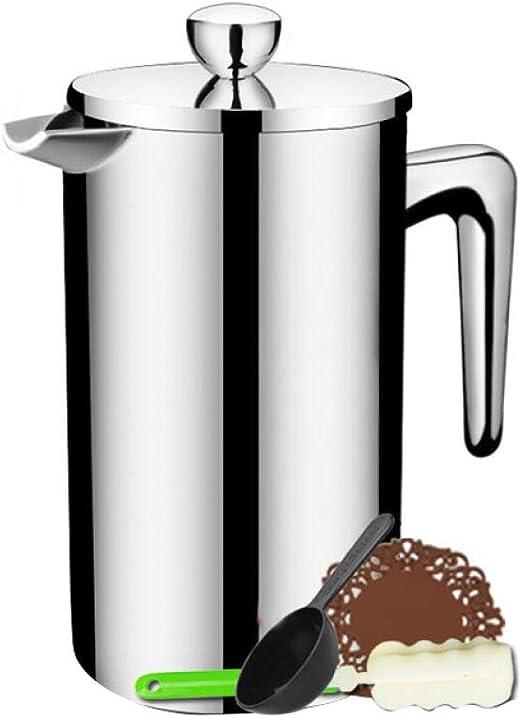 Cafeteras de émbolo, Acero Inoxidable Doble Pared Apto para lavavajillas, pulido satinado,1000ml(34oz): Amazon.es: Hogar