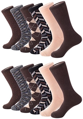 Mio Marino Mens Dress Socks - Argyle Cotton Crew Socks for men - Business casual dress socks - Style 1-12 Pack - Size 13-15