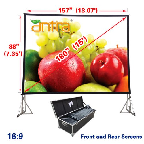- Antra PSD-180A 16:9 Fast Fold Projector Projection Screen with Front & Rear Projection Material on Heavy Duty Frame with Carry Case (180