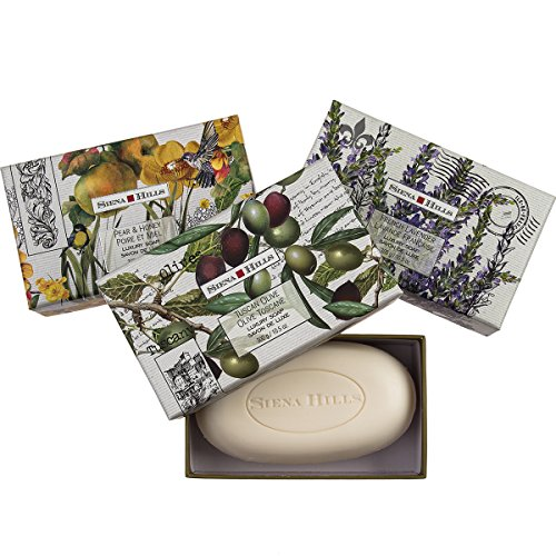 Set of 3 Sienna Hills Shea Butter Bar Soaps Luxury Bath Body Soap Decorative Gift Box (Luxury Guest Soaps)