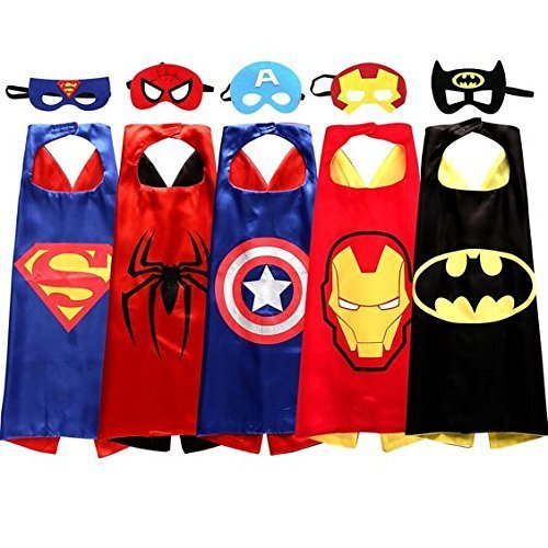 Easy Party Superhero Dress Up Costumes / Party Favors 27x27 inch 5 Satin Capes and 5 Felt Masks For Kids and Toddlers; Halloween Superhero (Easy Halloween Costumes Toddlers)