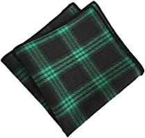 MENDENG Men's Green Black Plaid Stripe Pocket Square Party Hanky Handkerchief