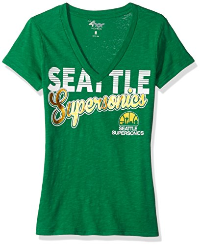 GIII For Her NBA Seattle Supersonics Women's 1St Down V-Neck Tee, Large, Green