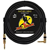 RIG NINJA GUITAR CABLE for Serious Musicians, 20 ft Electric Guitar Amp Cord for a Clean Tone to the Amplifier, Right Angle Instrument Cables, Great Signal Transmission, Low Noise Guitars & Bass Cords